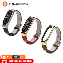 Mijobs Leather Strap PU Mi Band 3 Wrist Watch Band Bracelet Replace for Xiaomi Mi Band 3 Smart Wristbands Miband 3 Watchband Mi3