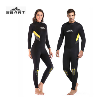 SBART 3mm Full body Couples Wetsuit for Men Women Black Long Sleeve One-Piece Swimsuit Surfing Snorkeling Scuba Diving Clothing