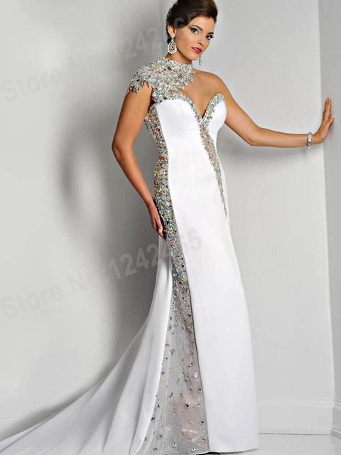 3ddd45ef4090 White Mermaid High Neck Backless Evening Dresses 2015 Designer Sweetheart  Long Rhinestone Evening Gown Party Dress