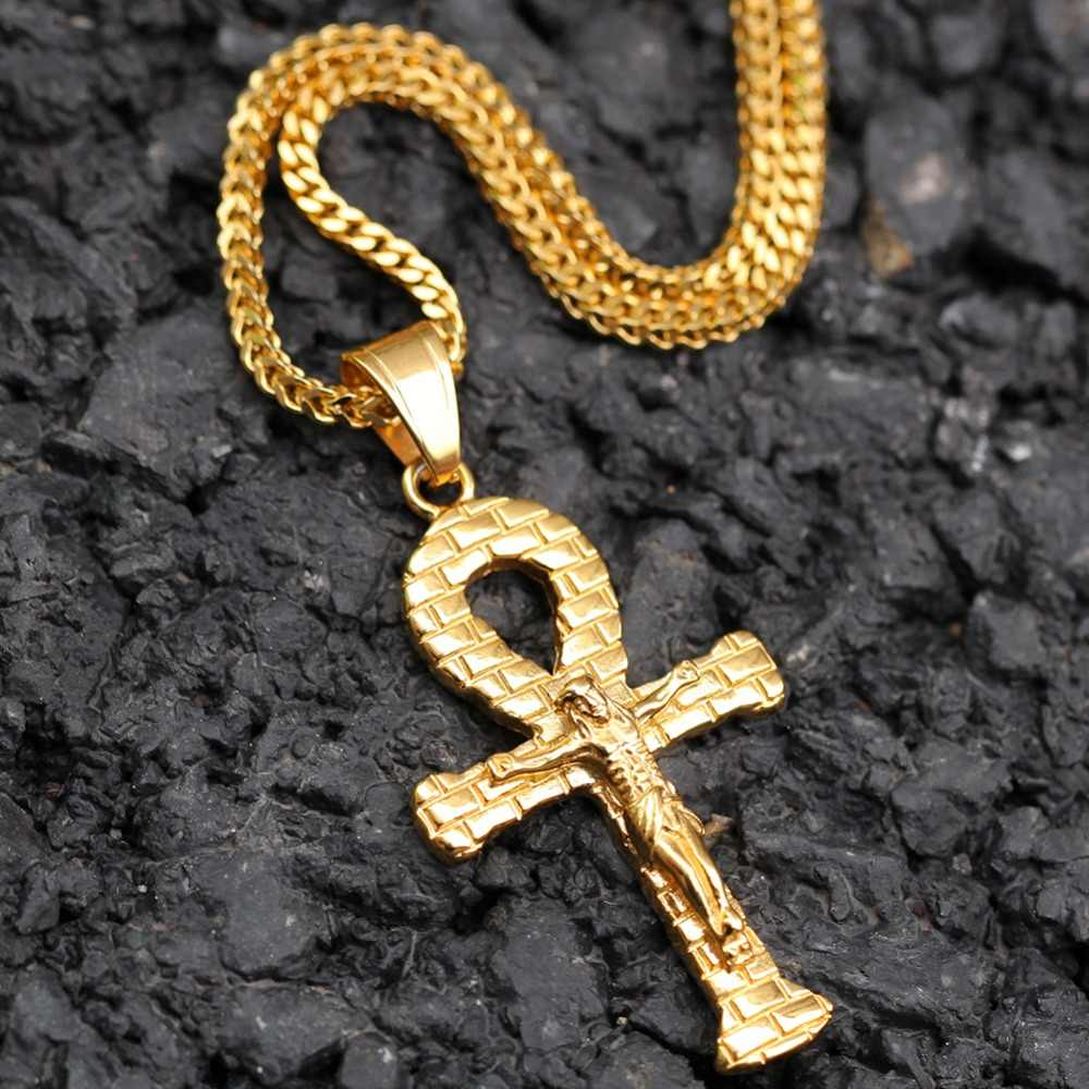 THE BLING KING Custom Stainless Jesus Anka Necklaces Hip Hop Full Iced Out Cubic Zirconia gold sliver CZ Stone