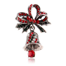 CINDY XIANG Cute Rhinestone Bell Brooches for Women Trendy Christmas Creative Pins Bow Accessories Dress Coat Jewelry Hot Sales