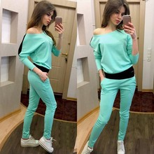 2017 New Coming  Summer Solid o-neck  Tops + Sweatpants Two Pieces Casual Women Set