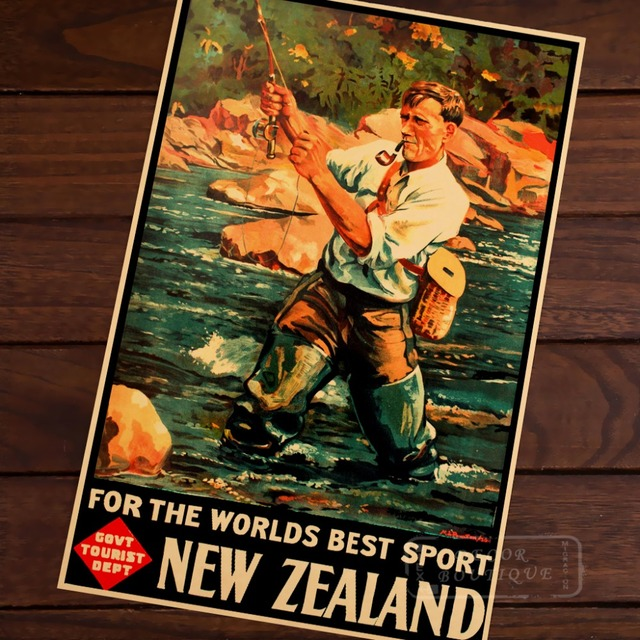 NZ Vintage Fly Fishing Poster New Zealand View Art Retro Canvas ...