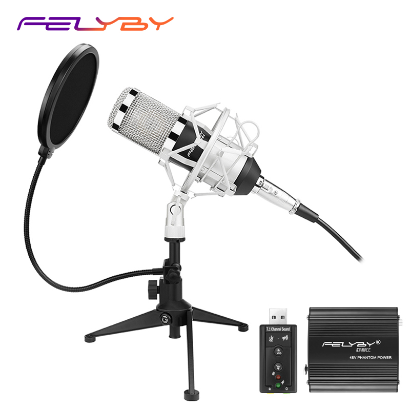 Upgraded Professional PC/KTV Microphone BM800+ Condenser Microphone Professional Audio Studio Recording Microphone Metal Tripod eloy eloy power