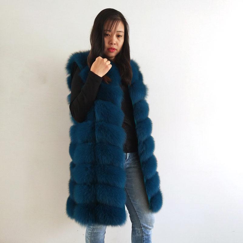 New Natural Fox Fur Ladies Fur Vest, Long Round Neck Fashion Warm Vest Factory Direct  Customizable 2019