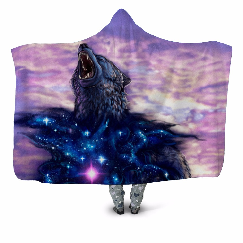 Wolf Star Heart 3D Printed Plush Hooded Blanket for Adults Children Warm Wearable Fleece Throw Blanket Home Office Washable New