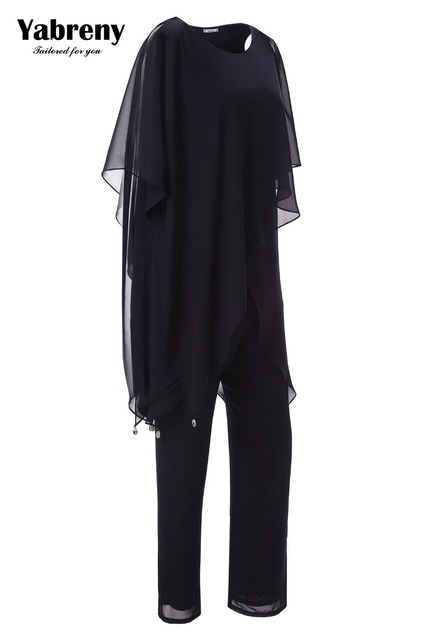 Yabreny New arrival Regency Chiffon Two piece Mother of the bride pantsuit Irregular hem MT0017013 1