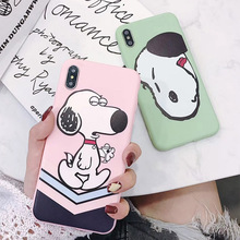Matte phone case  For iphone X XR XS MAX pink Cover 6S 6 7 8 Plus Charlie Brown Cartoon white dog Phone Case off