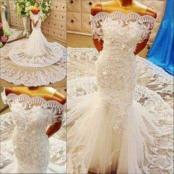 Robe de mariage 2017 игристое сексуальный повязку свадебное платье невесты кружева русалка свадебное платье свадебные платья novias