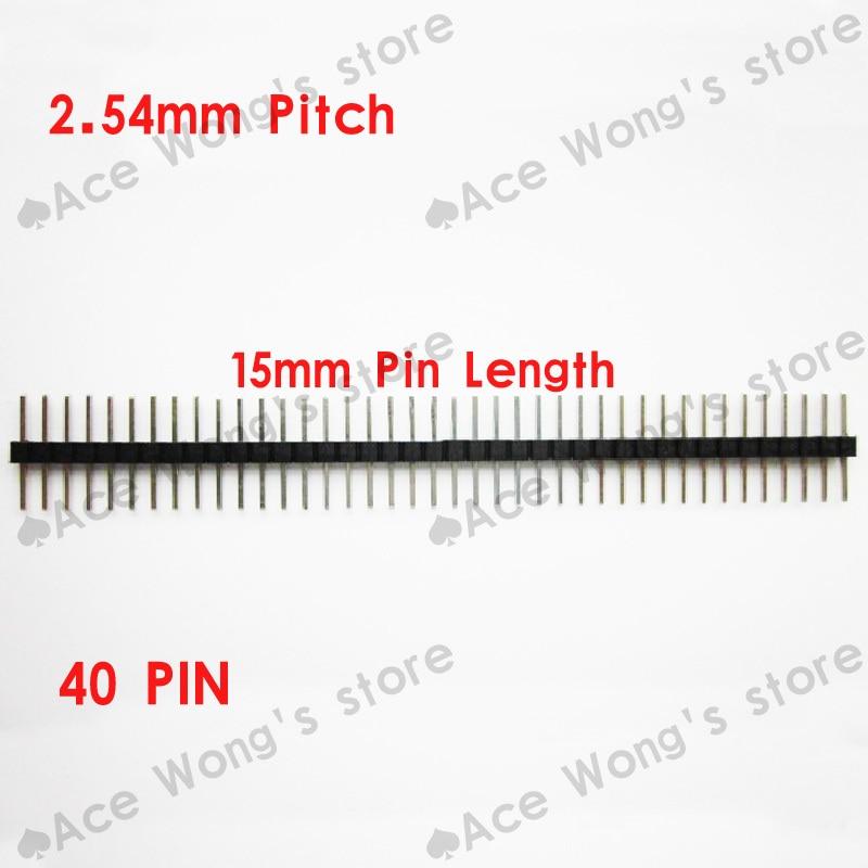 100PCS/Lot 2.54mm Pitch Single Row 40 Pin Pin Header Pin Male Pin Connector Length 15mm Free Shipping new original 10pcs 1x40 pin 2 54 round male pin header connector
