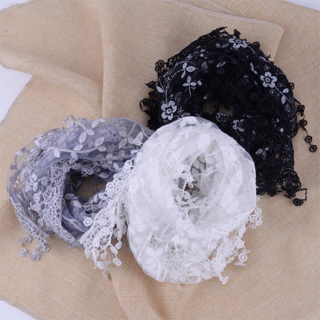 Women Fashion Lace Sheer Floral Print Triangle Veil Church Mantilla   Scarf     Scarves   Shawl   Wrap   Tassel