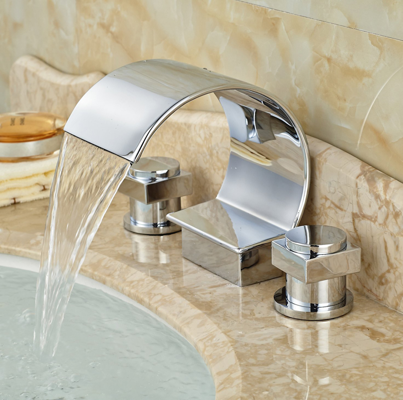 Chrome Finished Deck Mounted Dual Handles Basin Faucet Waterfall 3pcs Bathroom Sink Tap