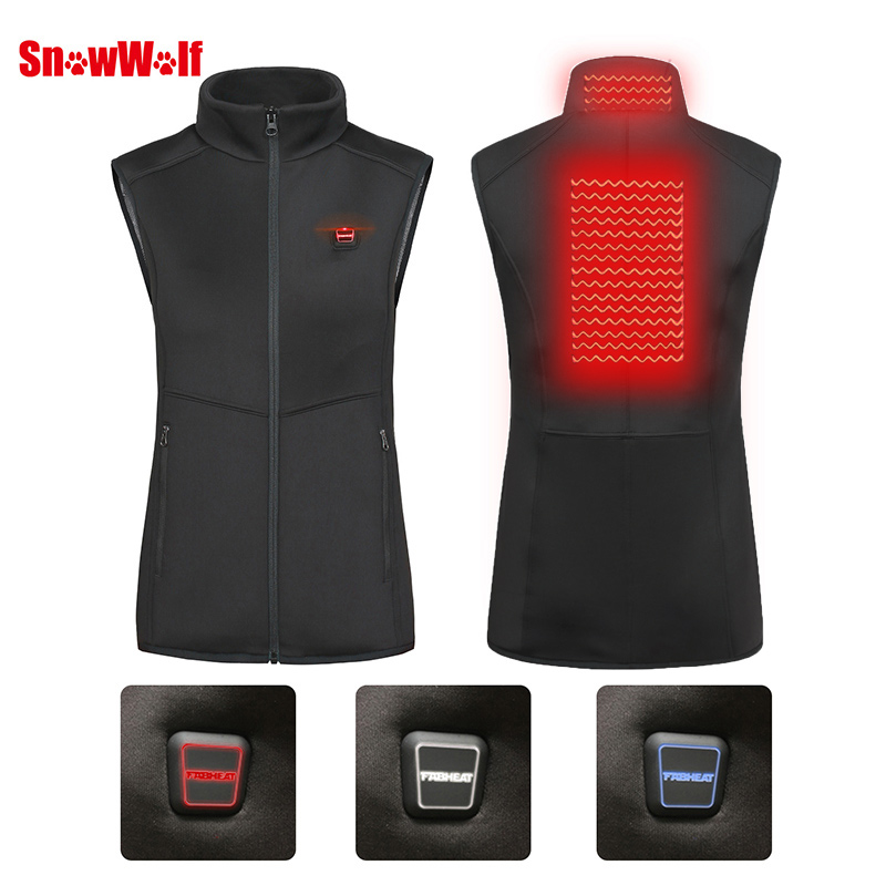 SNOWWOLF 2019 Women Winter Outdoor USB Infrared Heating Vest Jacket Electric Thermal Waistcoat Clothing For Sports Hiking in Hiking Vests from Sports Entertainment