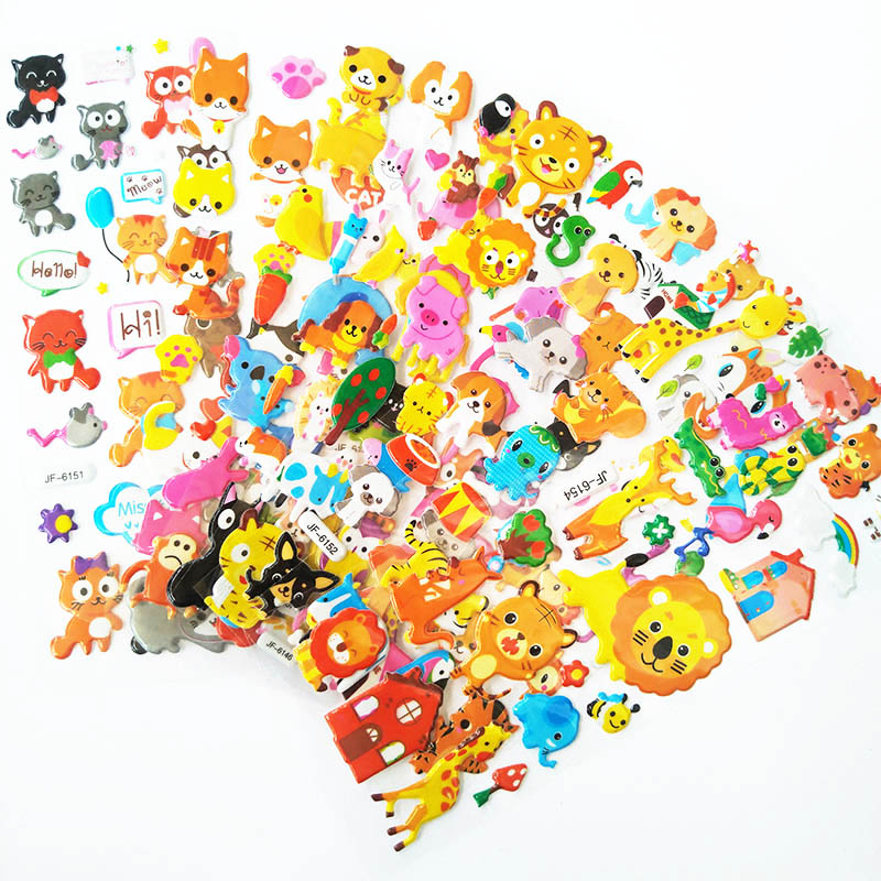 8 Sheets Kids Stickers 3D Cartoon Animal Dogs Cats Zoon Pattern Toys Funny Toy For Kids On Notebook Phone Laptop Birthday Gifts