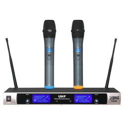 Professional UHF Wireless Microphone System Dual Channel Handheld Mic With Receiver Cordless Mike For Karaoke Conference Singing