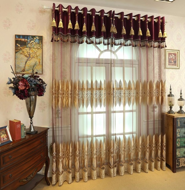 High End European Classical Embroidery Tulle Curtains,Bedroom Living Room  Muslin Curtain,Door