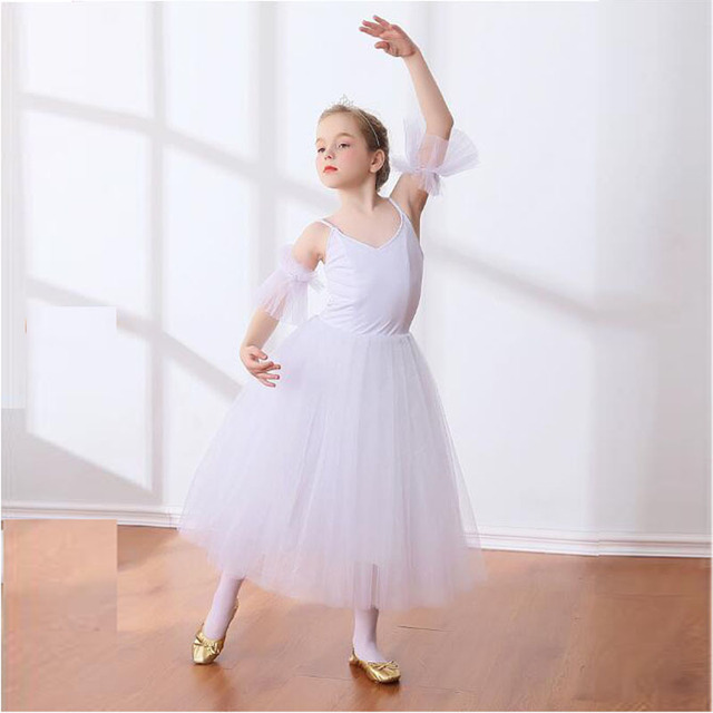 3ee0287db Children Lyrical Ballet Skirt Kids Girls Empire Waist Ballet Dance Dress  White Ballerina Costumes Back zipper Dancer Outfit
