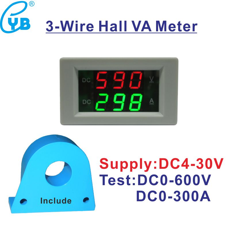 US $14 62 25% OFF|Electricity Meter Analog DC Current Sensor LED Digital  Voltmeter Ammeter Current Transformer 300A Volt Amp Panel Meter DC 0  600V-in