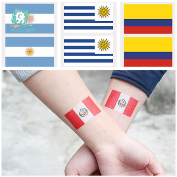 2018 Soccer Game Flags Of Peru Colombia Uruguay Argentina Temporary Tattoo Stickers For Funs Flag Face Tattoo