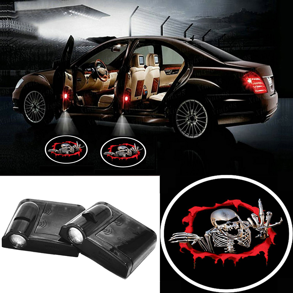 2 X Wireless Car Door LED Projection Red Vampire Projector Shadow Logo Light Welcome Lamps Magnet Sensor for Bmw E39 Audi Vw Kia 2 x wireless led car door logo projector welcome ghost shadow light for suzuki swift sx4 s cross jimmy alto celerio grand vitara