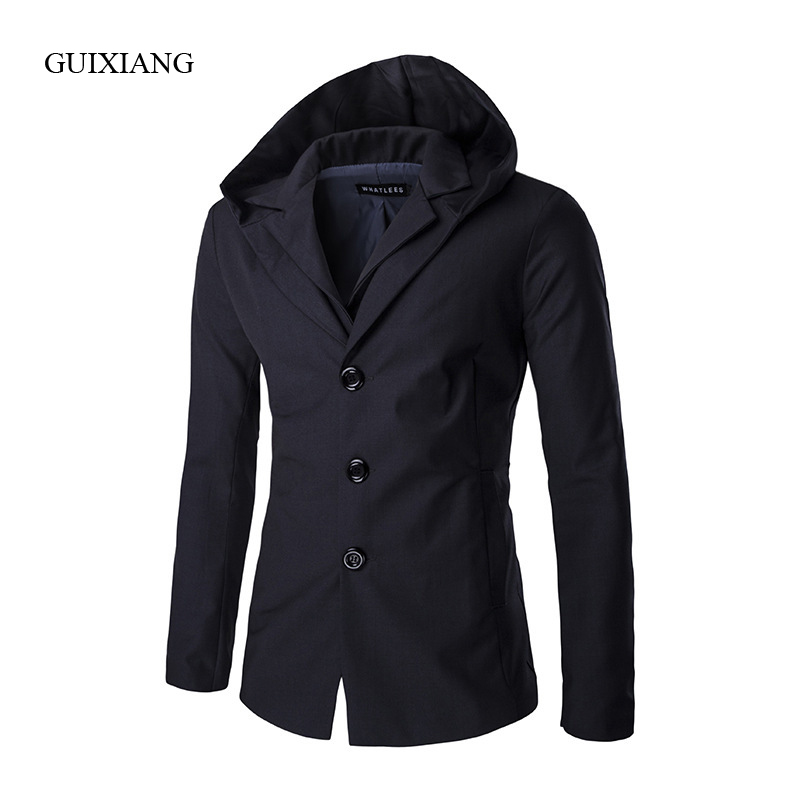 2017 New Autumn and Winter style men suits blazers fashion casual high quality men hooded solid fake two-piece dress suit coat