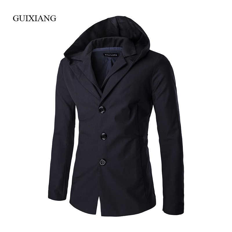 2019 nuevo estilo Otoño e Invierno trajes de hombre chaquetas de moda casual de alta calidad con capucha sólido falso traje de dos piezas