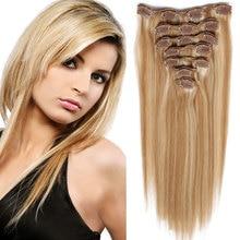 10PCS 120G Clip In Human Hair Extensions Full Head Brazilian Virgin Human Hair Clip In Extensions Straight Hair Clip In P27/613