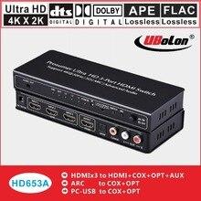 HDMI Adaptador Conversor Divisor Extrator 3X1 4 k X 2 k Switcher HDMI para HDMI + Optical ++ coxial + L/R SPDIF DTS/AC3 5.1 Áudio ARC 3D