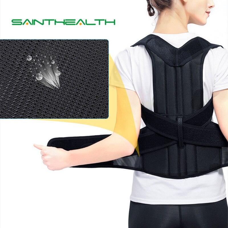 Espalda ajustable con placa de acero apoyo cinturón corsé postura corrección para hombres mujeres