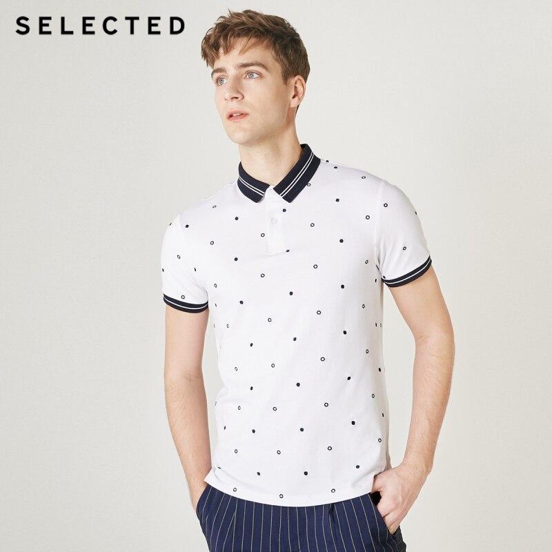 SELECTED Men's Summer Polka Dots Turn-down Collar Short-sleeved Poloshirt S|419206516