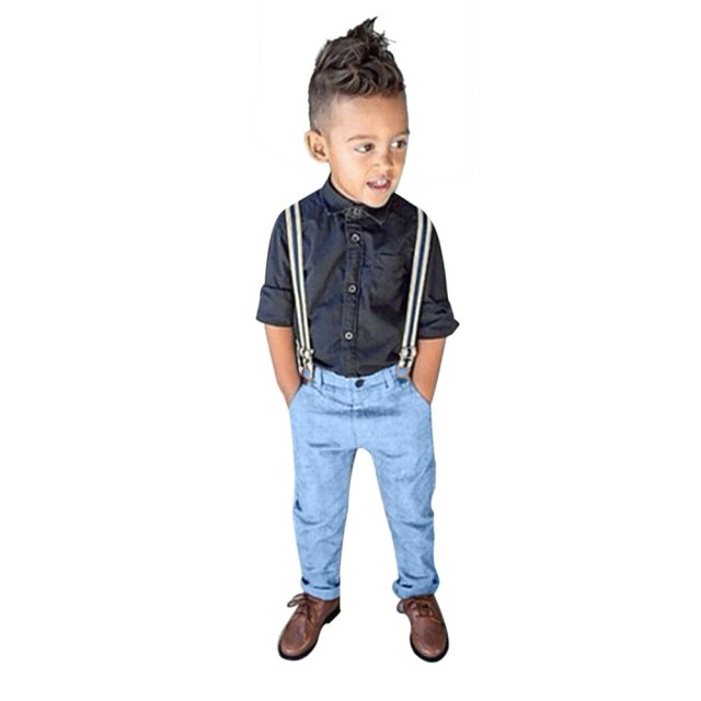 Baby Boys Denim Clothing Sets Casual Denim Trousers 2pcs Chic Solid Color Turn Down Collar Long Sleeve Shirt Suspender Trousers