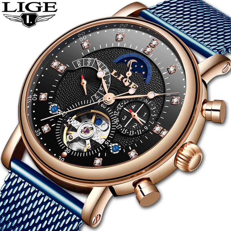 LIGE 2019 Top Brand Luxury New Men Watches Fashion Sport Watch Mesh Belt Moon Phase Automatic Mechanical Watch Relogio MasculinoLIGE 2019 Top Brand Luxury New Men Watches Fashion Sport Watch Mesh Belt Moon Phase Automatic Mechanical Watch Relogio Masculino
