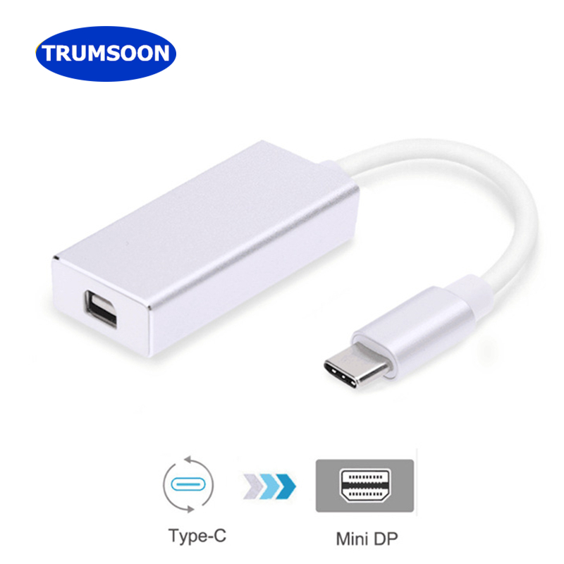 Trumsoon USB C Type-C to Mini DP Adapter Type-C to HDMI VGA DVI USB3.0 Converter Cable 4K for Macbook Chromebook Projector MINI