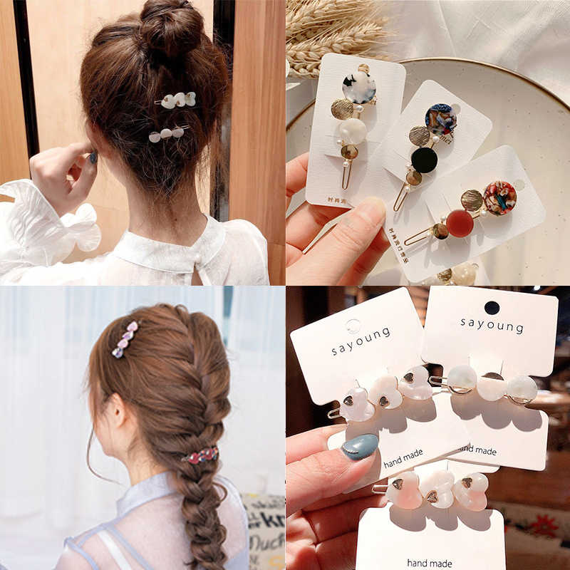 31 Colors Hair Clips Heart Flower Crystal Hairpin Hollow Out Headwear Gifts Barrettes 1PC Round Alloy Circle Love INS Style