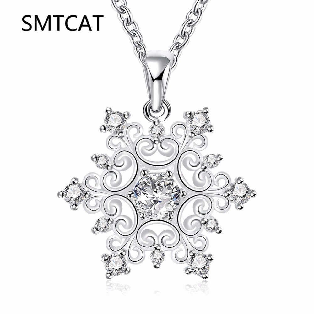 SMTCAT Hot Sale Promotion 2018 New Fashion Snowflake Shiny Zircon Design Silver 925 Pendant Necklaces for Women Jewelry Gift
