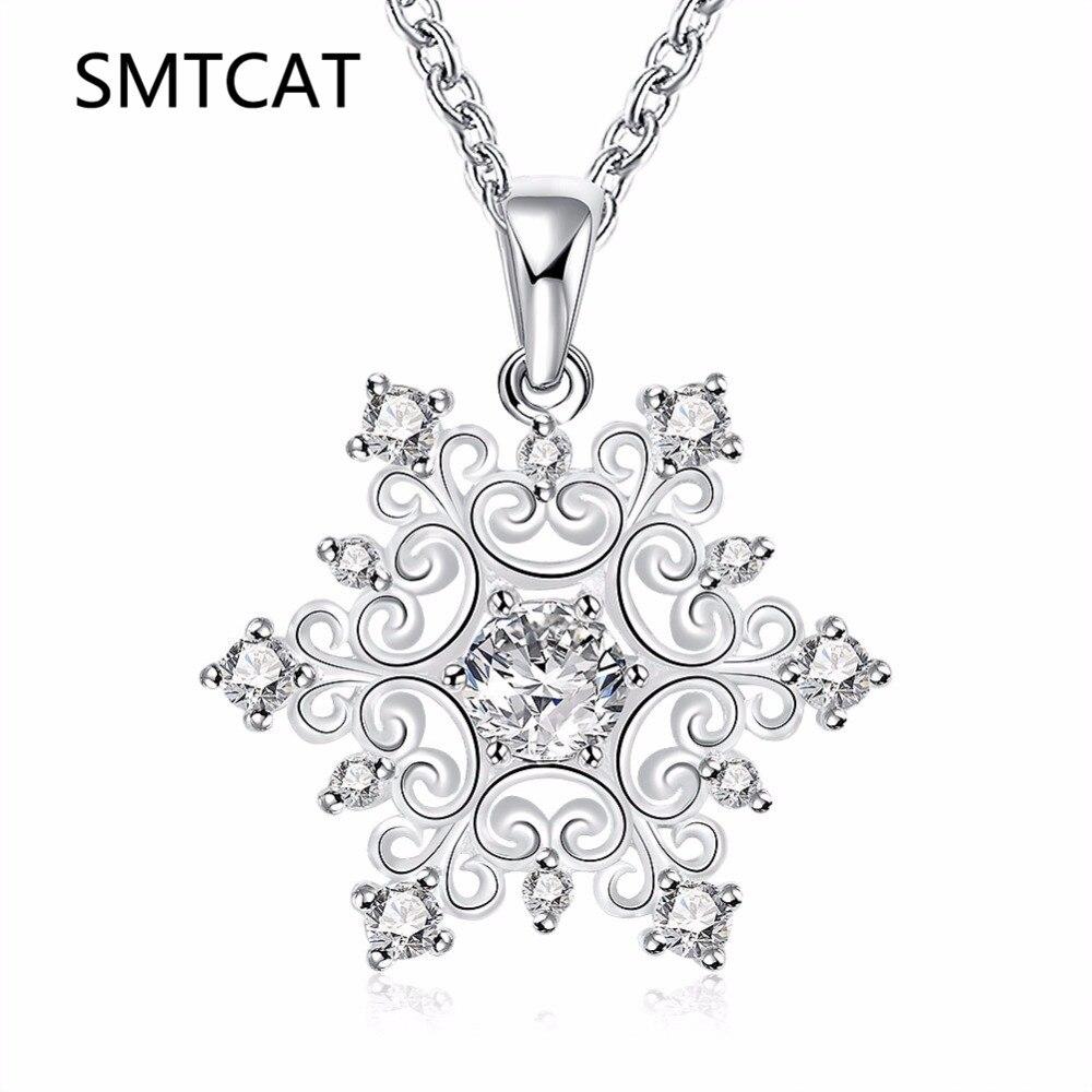 SMTCAT Hot Sale Promotion 2018 New Fashion Snowflake Shiny Zircon Design Silver 925 Pendan
