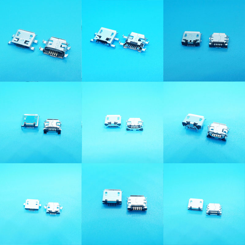 10Model Micro Usb Mother Female Port Connector Centro De Carga Para Telefono Mix SMD DIP Usb Jacks For Samsung Lenovo Huawei ZTE