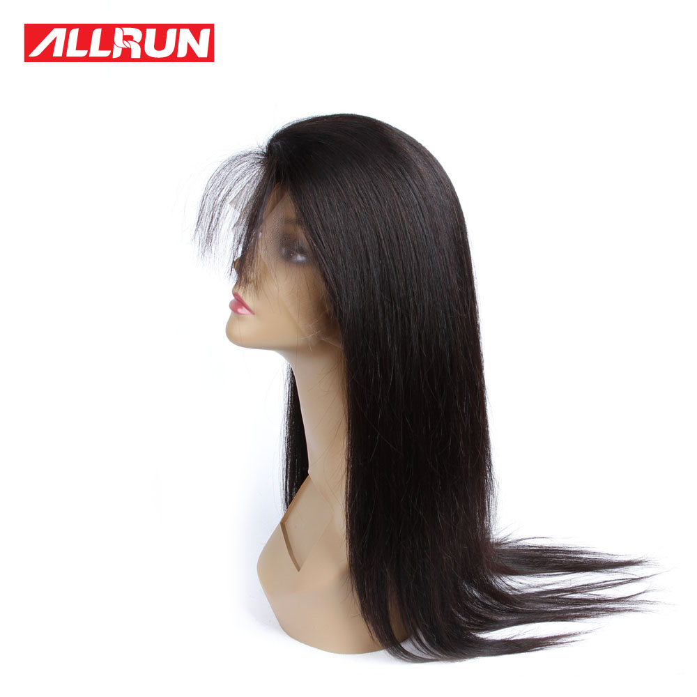 Allrun Hair Brazilian Straight Hair 360 Lace Frontal Closure With Baby Hair non remy Human Hair