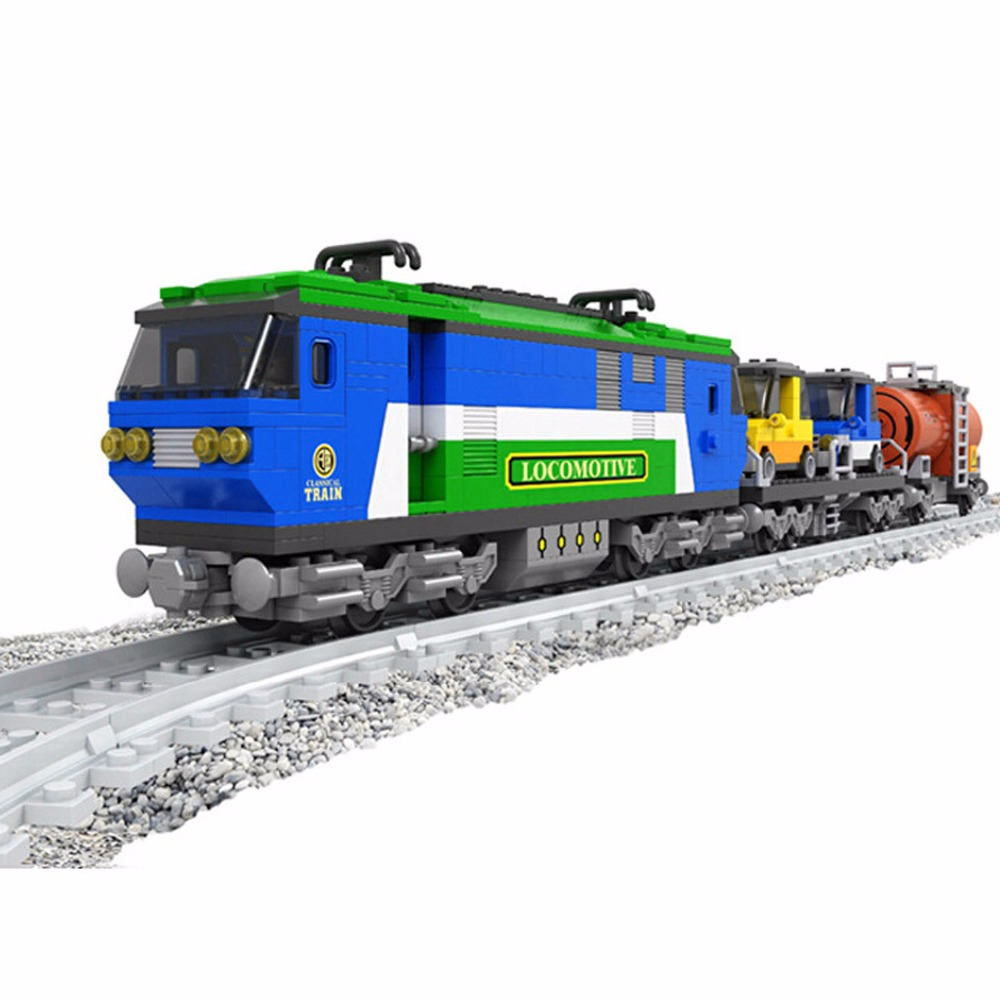цены 573 PCS Classical Train with Track,Express Locomotive Train Building Toy Model,3D Building Blocks Toys Set for Kids,Xmas Present
