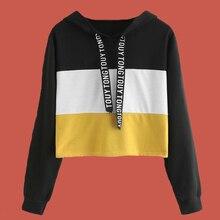 Sweatshirt Crop Top Color Block Hoodie Poleron Mujer 2020 Black Yellow Lace Up Drawstring Hoodie Striped Women Hoodies Letters color block panel drawstring pullover hoodie