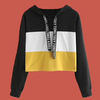 Sweatshirt Crop Top Color Block Hoodie Poleron Mujer 2020 Black Yellow Lace Up Drawstring Hoodie Striped Women Hoodies Letters black lace up crop top with self tie back