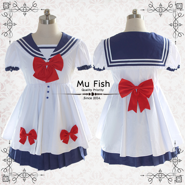 a02ef3eefdc New Anime Pretty Soldier Sailor Moon Cosplay Costume female lolita summer  dress Tsukino Usagi uniform top+skirt