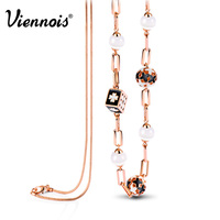 2015 Newest Viennois Fashion Jewelry Rose Gold Plated Alloy Woman Long Chains Necklaces Austrian Rhinestone Opal