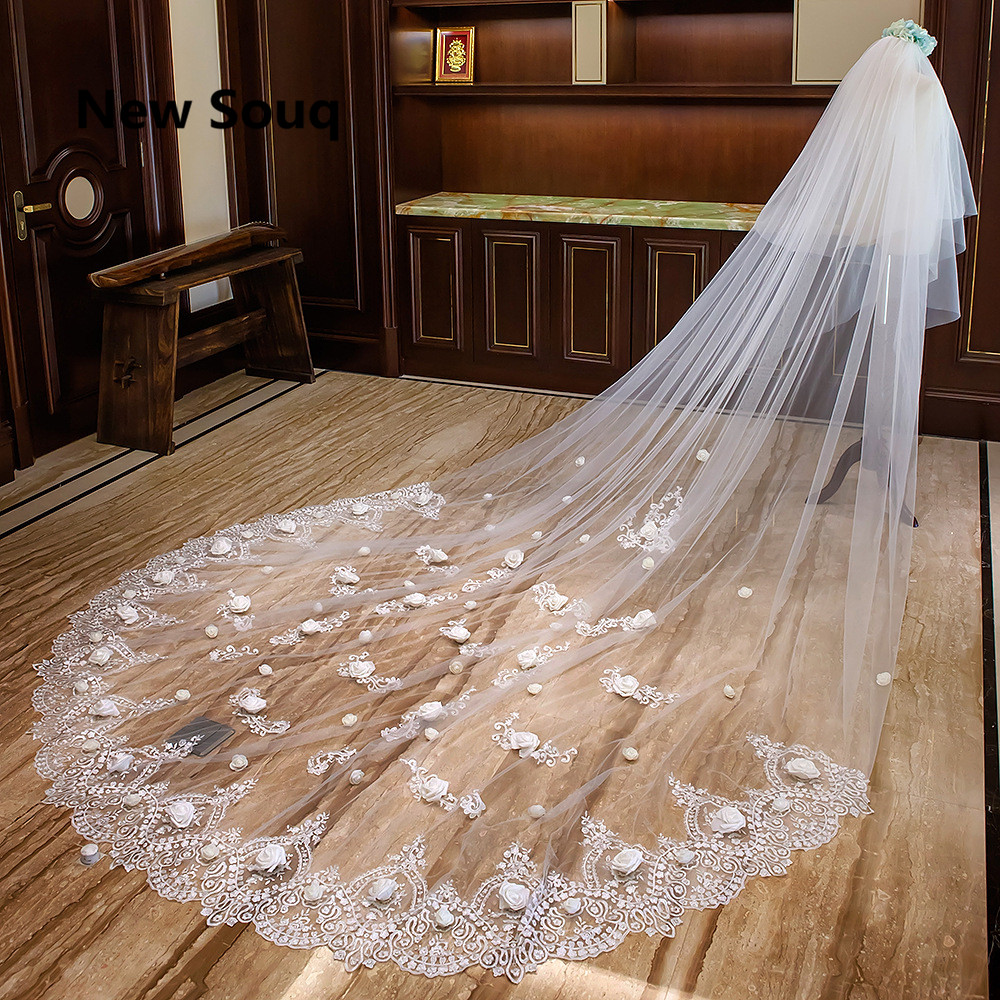 Cathedral Length Long Wedding Veils With Rose Flower Lace Applique voile mariage Bridal Veil Wedding Accessories velo de novia