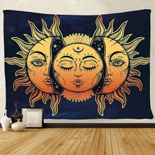 Sun Moon Mandala Indian Tapestry Hippie Wall Hanging Bedspread Throw Cover Bohemian Beach Mat Home Decor150x130cm Blanket(China)