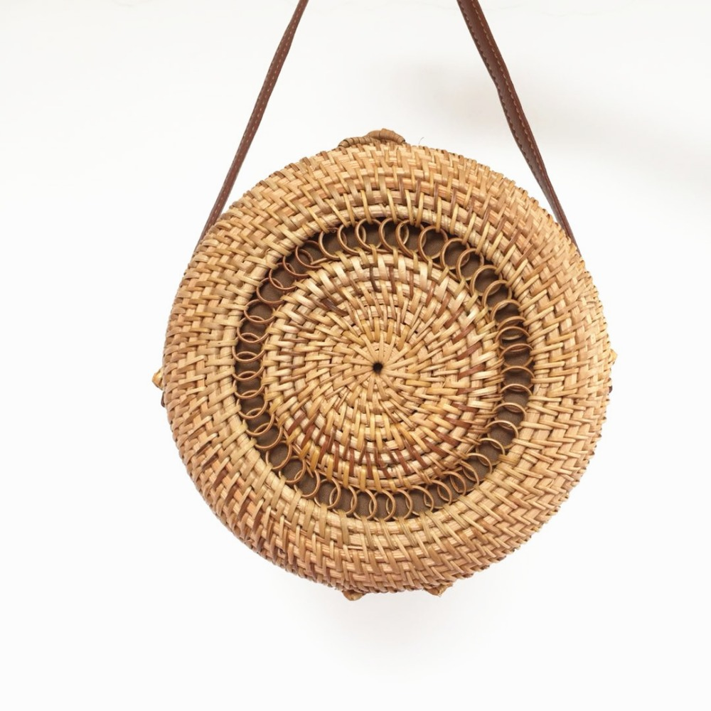 Rattan Bags Handmade Round Straw Bag For Women 2018 Summer Beach Shoulder Bag Hollow Woven Crossbody Circle Bohemia Handbag Bali