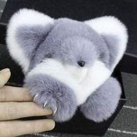 Tự nhiên Rex Rabbit Fur Túi Keychain Thời Trang Key chains Bất Rabbit Fur Mặt Dây Chuyền Trang Trí Xe vòng Chìa Khóa Quái Vật Đính Fox