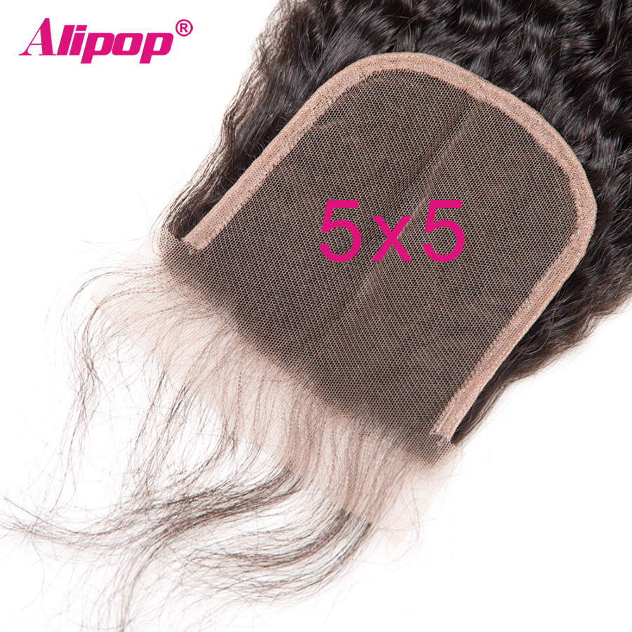 Kinky Straight 5x5 Lace Closure Pre Plucked With Baby Hair Brazilian Remy Human Hair Closure 10-20 Inches Swiss Lace Free Alipop