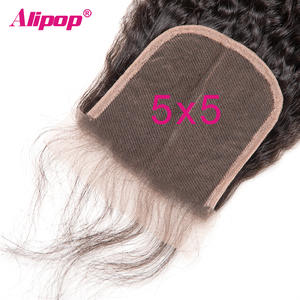 Alipop Lace Closure Hair Pre-Plucked Kinky Straight Brazilian 5x5 Remy with Baby 10-20-Inches