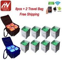 8pcs with bag smart dj Hex Battery Powered 6x18w LED RGBAW+UV Uplighting Wash Light